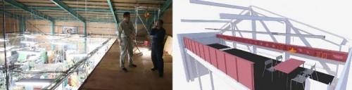 左:2階ロフトにて「メタルDIY」スペースの工事進行に立ち会う。 右:完成イメージ。ここから、「ものづくり」の新たなコミュニティが生まれます!